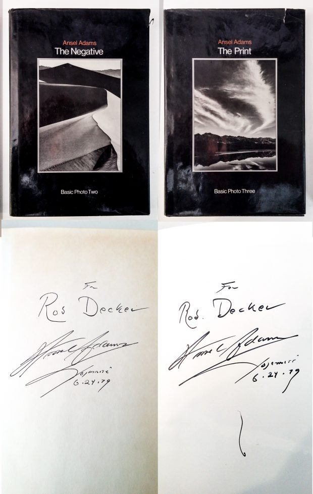 Ansel Adams Books Autographed to Rob Decker
