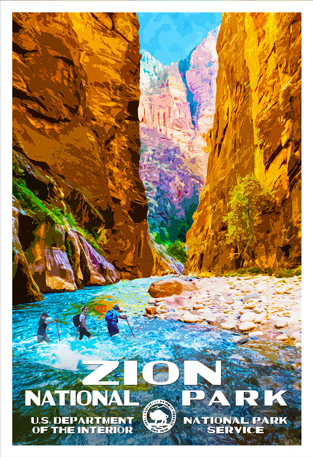 Zion National Park The Narrows Poster Zion National Park Print National Park Posters