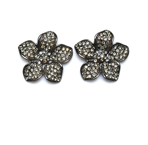 Brinco de Flor de Strass Grafite com Strass Black Diamond