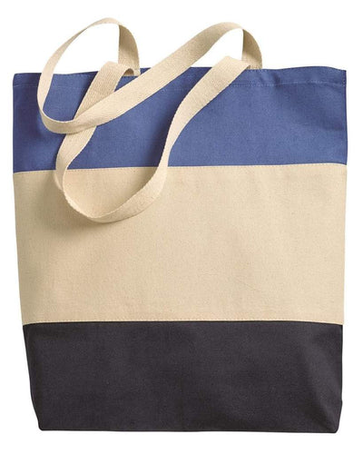 cotton-canvas-qtees-tri-color-tote-bag-Black / Natural / Light Grey-Oasispromos