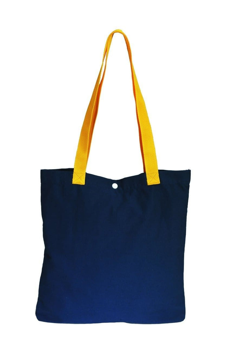 8-0-oz-cotton-tote-bag-with-polyester-handles-Navy Blue / Gold-Oasispromos