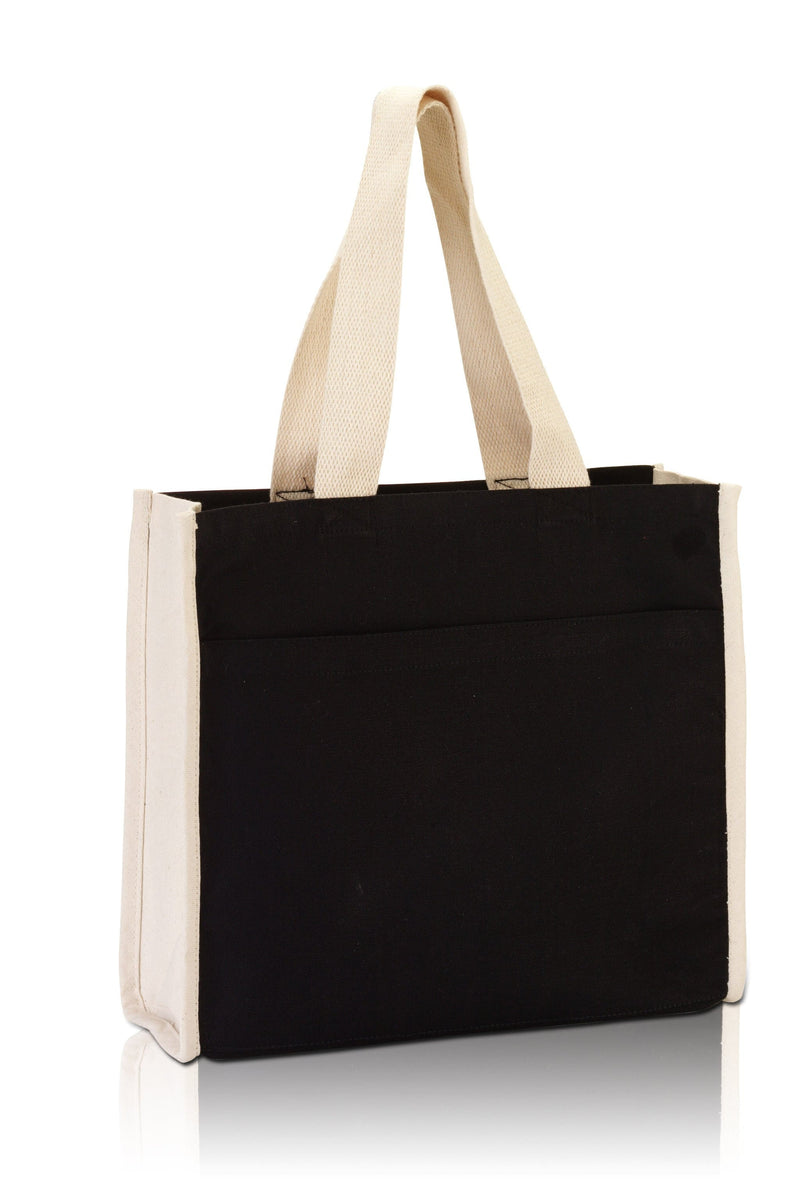 bg1199-daily-use-canvas-tote-with-contrasting-handles-and-a-full-front-pocket-Natural / Black-Oasispromos
