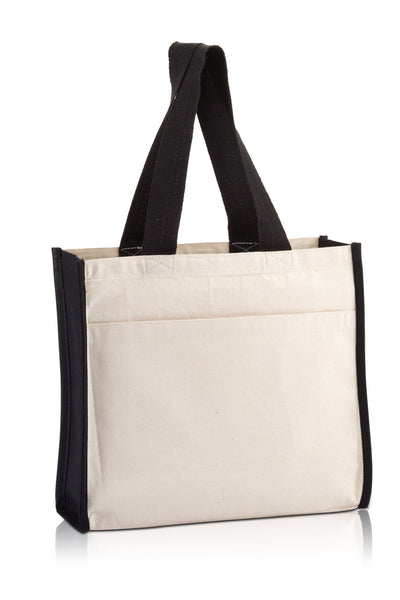bg1199-daily-use-canvas-tote-with-contrasting-handles-and-a-full-front-pocket-Black / Natural-Oasispromos