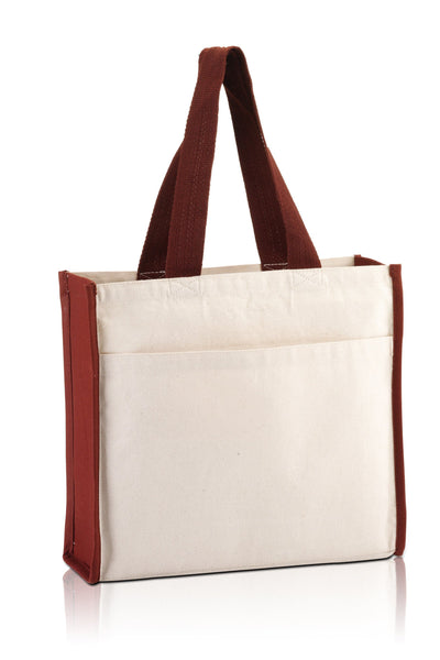 BG1199 - Daily use Canvas Tote with contrasting handles and a full front pocket - Oasis Promos