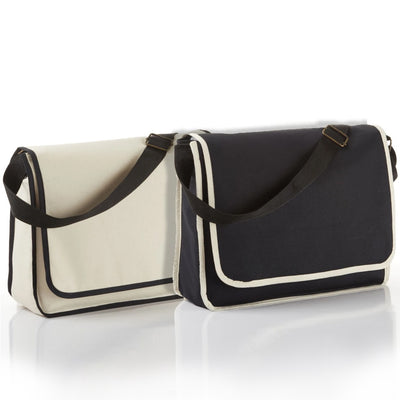 bg1270-modern-classy-canvas-satchel-messenger-bag-with-top-flap-and-inside-zippered-pocket-Natural / Black-Oasispromos