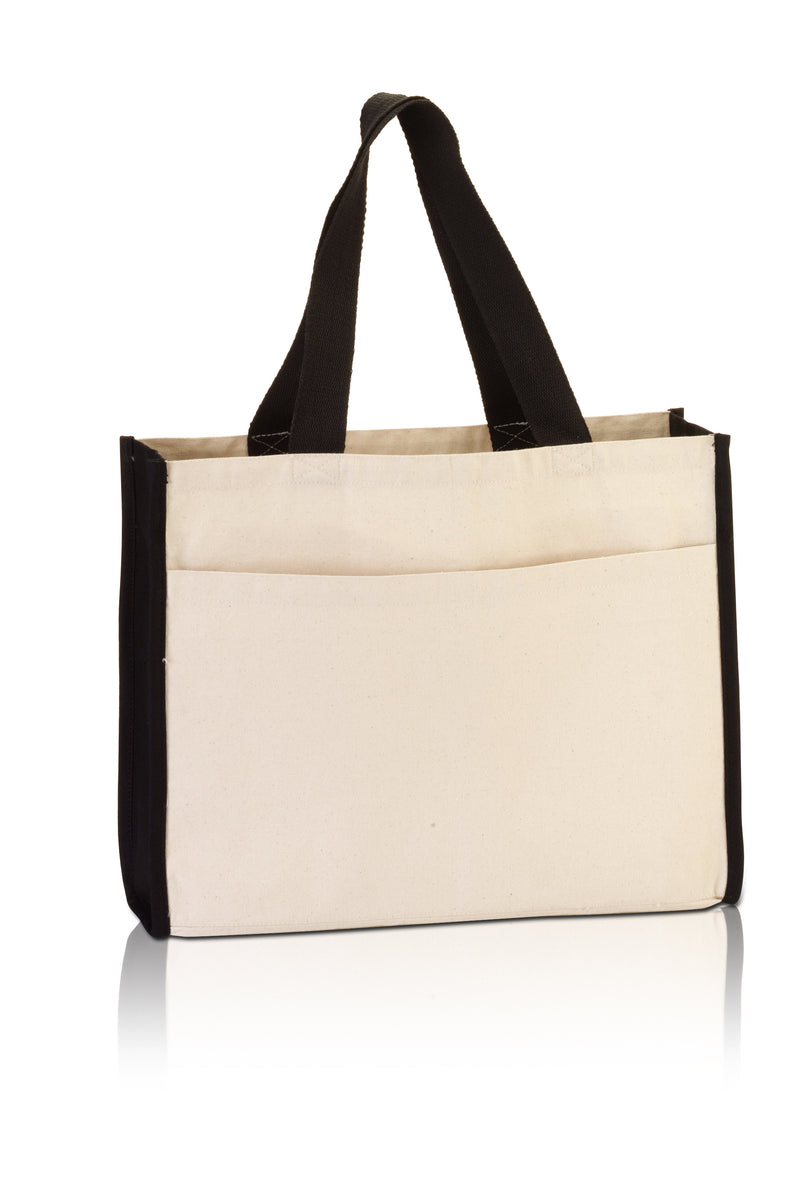 bg1499-large-canvas-tote-with-contrasting-handles-and-a-full-front-pocket-Natural / Black-Oasispromos