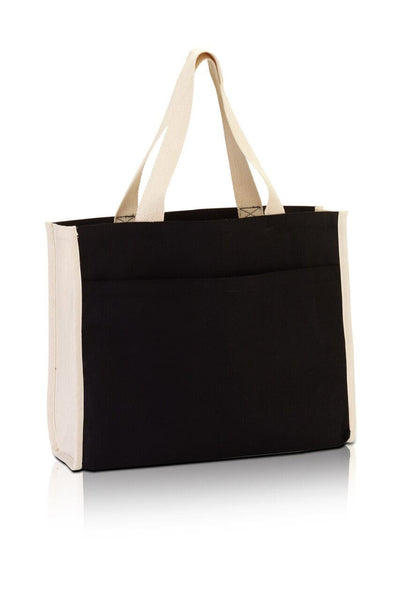 BG1499 - Large Canvas Tote with contrasting handles and a full front pocket - Oasis Promos