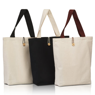 BG899 - Canvas Tote with Contrasting Handles and Front Button