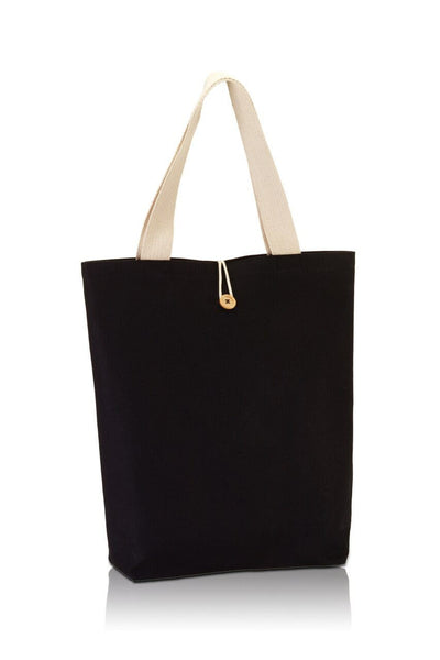 BG899 - Canvas Tote with Contrasting Handles and Front Button - Oasis Promos