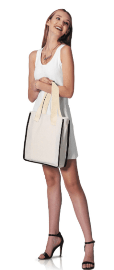 BG999 - Modern Canvas Tote with Natural Handles and Contrasting Piping - Oasis Promos