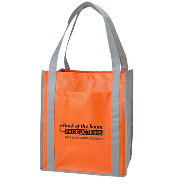 Color Combination Large Non-Woven Grocery Tote w/ Pocket - Oasis Promos