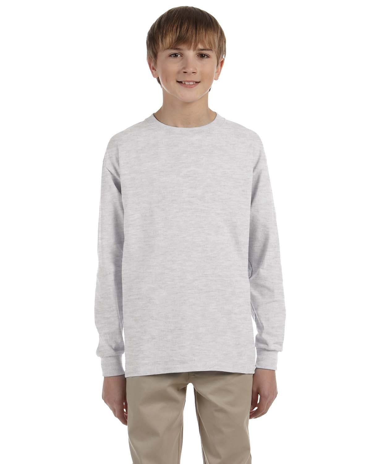 g240b-youth-ultra-cotton-6-oz-long-sleeve-t-shirt-Small-ASH GREY-Oasispromos