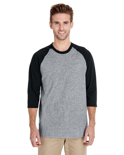 g570-adult-heavy-cotton-5-3-oz-3-4-raglan-sleeve-t-shirt-Small-BLACK/ WHITE-Oasispromos