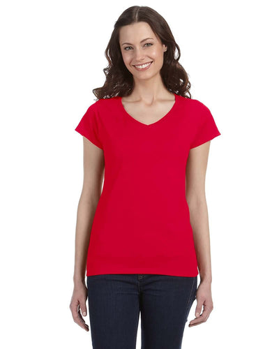 g64vl-ladies-softstyle-4-5-oz-fitted-v-neck-t-shirt-XL-AZALEA-Oasispromos