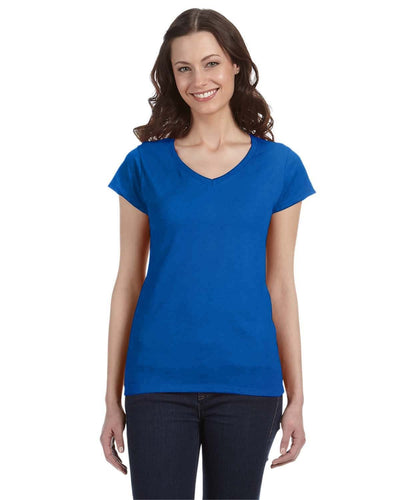 g64vl-ladies-softstyle-4-5-oz-fitted-v-neck-t-shirt-XL-BERRY-Oasispromos