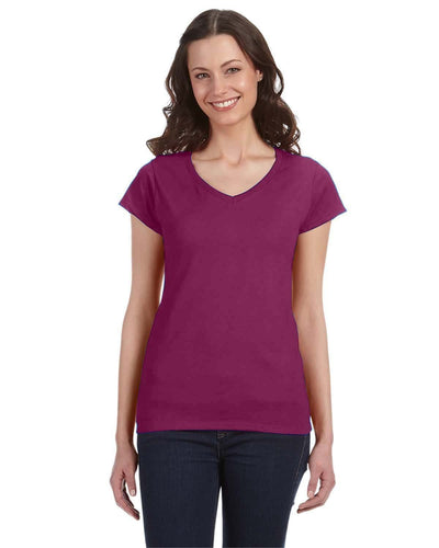 g64vl-ladies-softstyle-4-5-oz-fitted-v-neck-t-shirt-Medium-AZALEA-Oasispromos