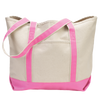 beach-tote-classic-boat-bag-variety-of-styles-and-colors-Navy Blue / Hot Pink-Oasispromos