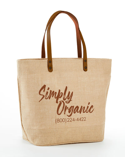 JB-916 L- Large Jute Tote Bag with beautiful leather handles, zipper closure at the top and inside zipper pocket