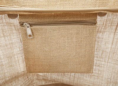 JC0208 S- Jute Tote Bag With Leather Handles, Zippered Closure and Inside Zipper Pocket - Oasis Promos