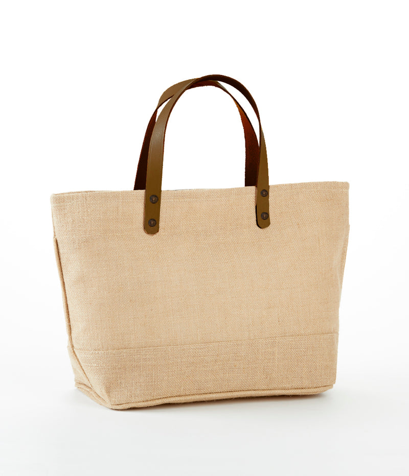 JB-916 S- Jute Tote Bag With Leather Handles, Zippered Closure and Inside Zipper Pocket