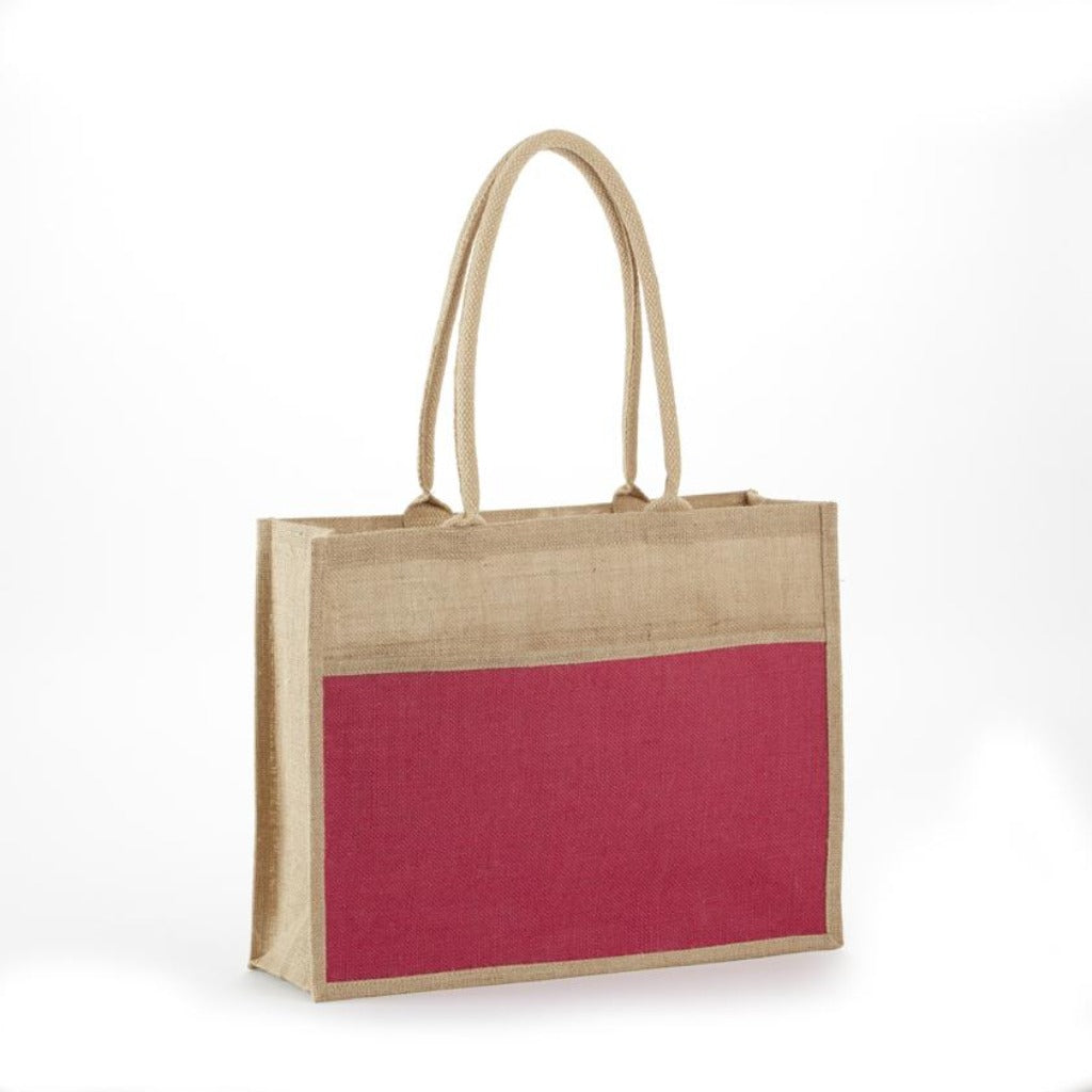JB-902 All Natural Jute 2 Tone Shopping Totes