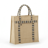 JB-8034 Retail Style Double Zipper Jute Bag - Oasis Promos