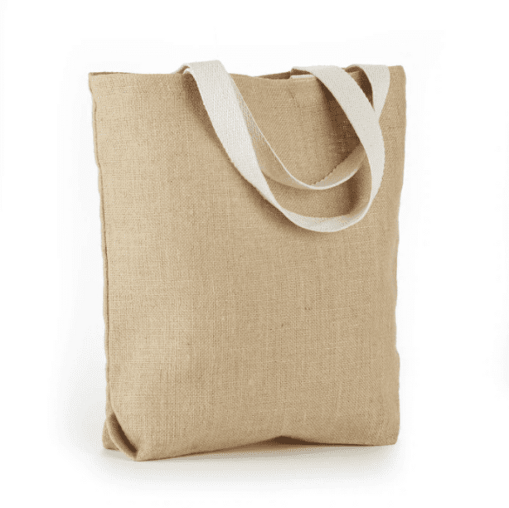 JB-904 All  Natural Jute Tote Bag With Bottom Gusset And Web Handles - Oasis Promos