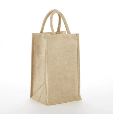 JBWB2 & JBWBS2 Clear Front & Solid Front 2 Bottle Jute Wine Bag - Oasis Promos