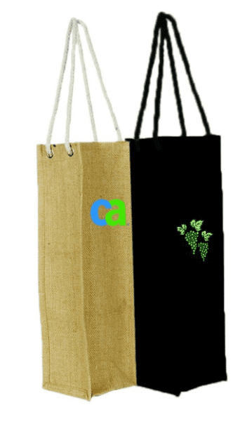 JC0003- 1 Wine Bottle Jute Bag - Oasis Promos