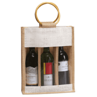 JC0004- Three Wine Bottle Jute Bag - Oasis Promos
