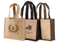 JC0043- Two Tone Small Jute Gift Bag - Oasis Promos