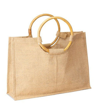 JC0066- Jute Shopping Tote With Round Cane Handle - Oasis Promos