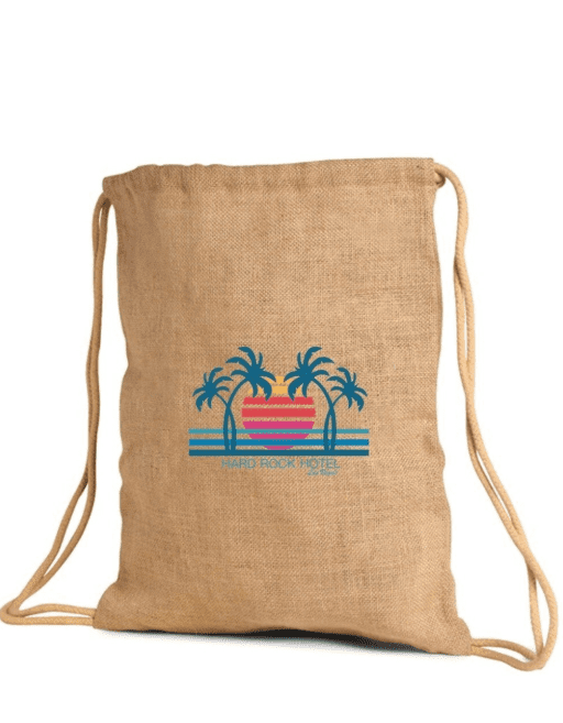 JC0149- Jute / Burlap Drawstring Backpack - Oasis Promos