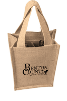 JC0216- Jute 2 Bottle Wine Bag - Oasis Promos