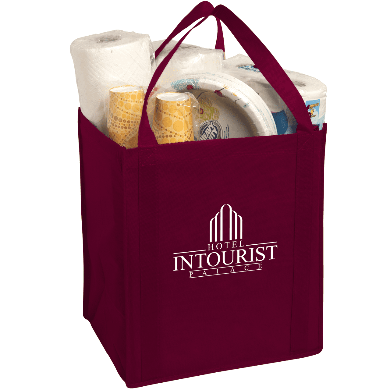 Large Non-Woven Grocery Tote - Burgundy:9530.preview.png