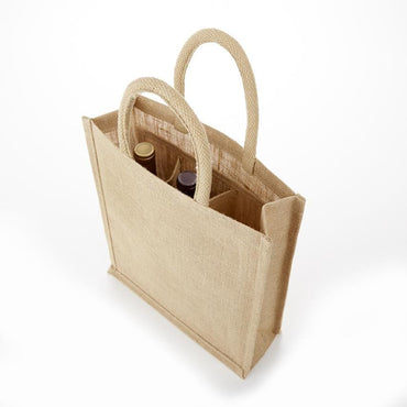 JBWB3 & JBWBS3 Clear Front & Solid Front 3 Bottle Jute Wine Bag - Oasis Promos