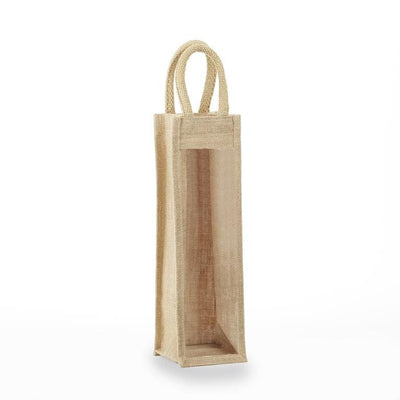 jbwb1-one-bottle-jute-burlap-wine-bag-Clear Front-Oasispromos