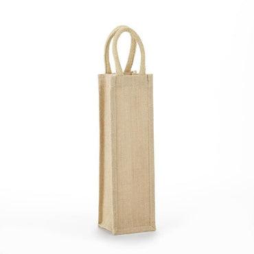 JBWB1S & JBWB1C Solid Front & Clear Front One Bottle Jute/ Burlap Wine Bag - Oasis Promos