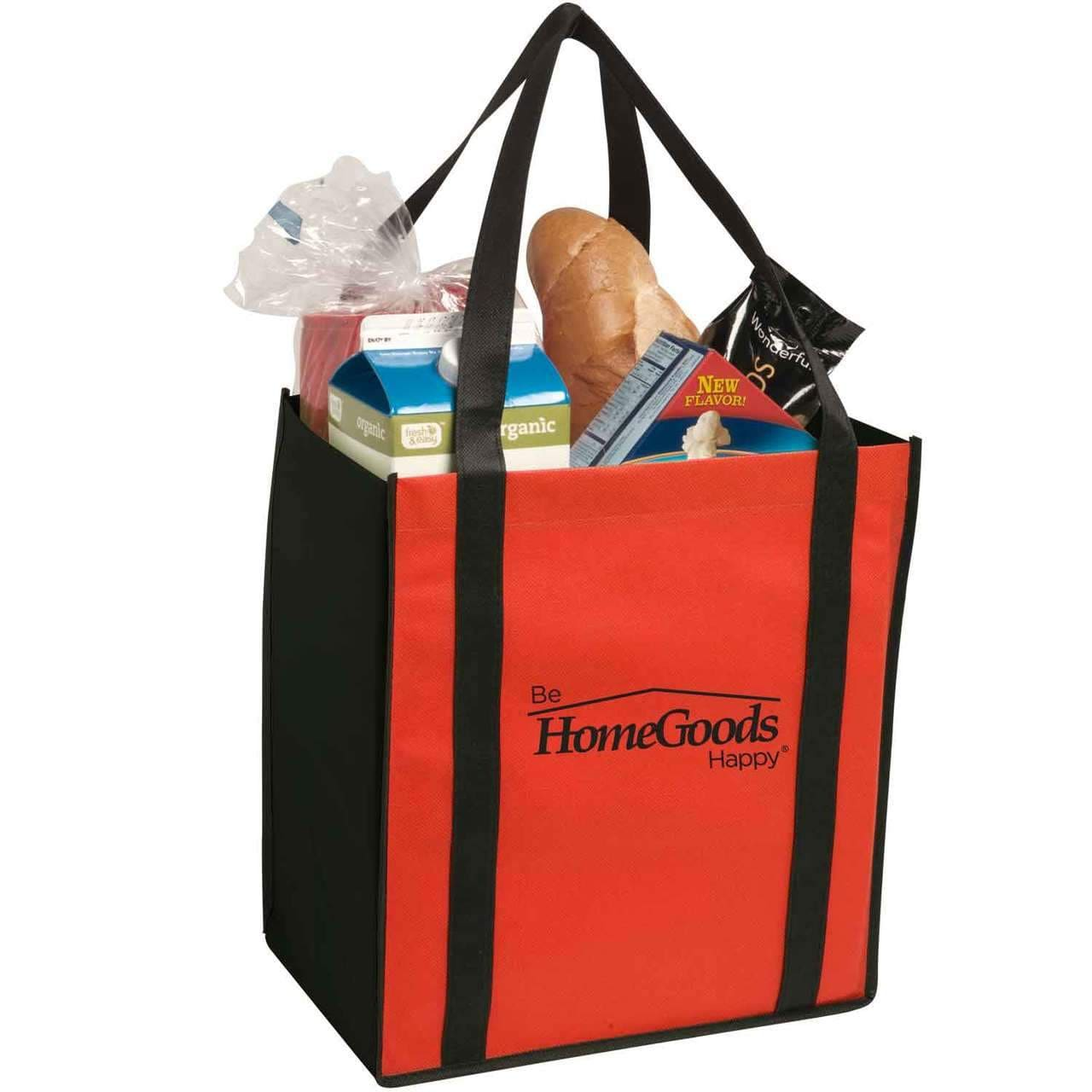 Non-Woven Two-Tone Grocery Tote - Red:9519.preview.jpg