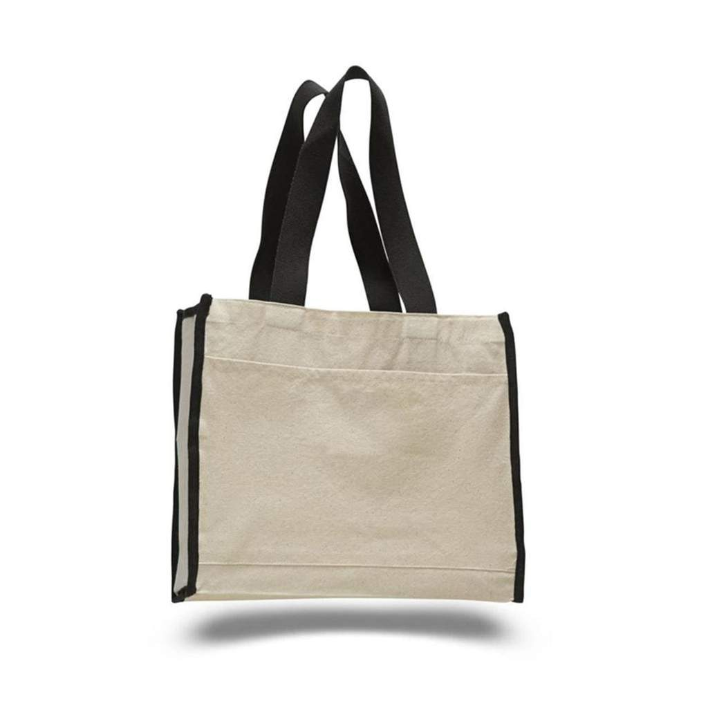 OPW1100 Canvas Tote Bag With Color Handles and Matching Accent - Black:11240.preview.jpg