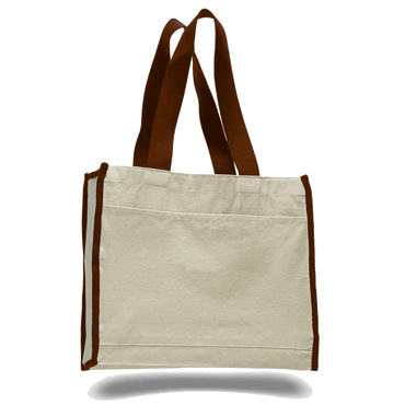 OPW1100 Canvas Tote Bag With Color Handles and Matching Accent - Chocolate:11241.preview.png