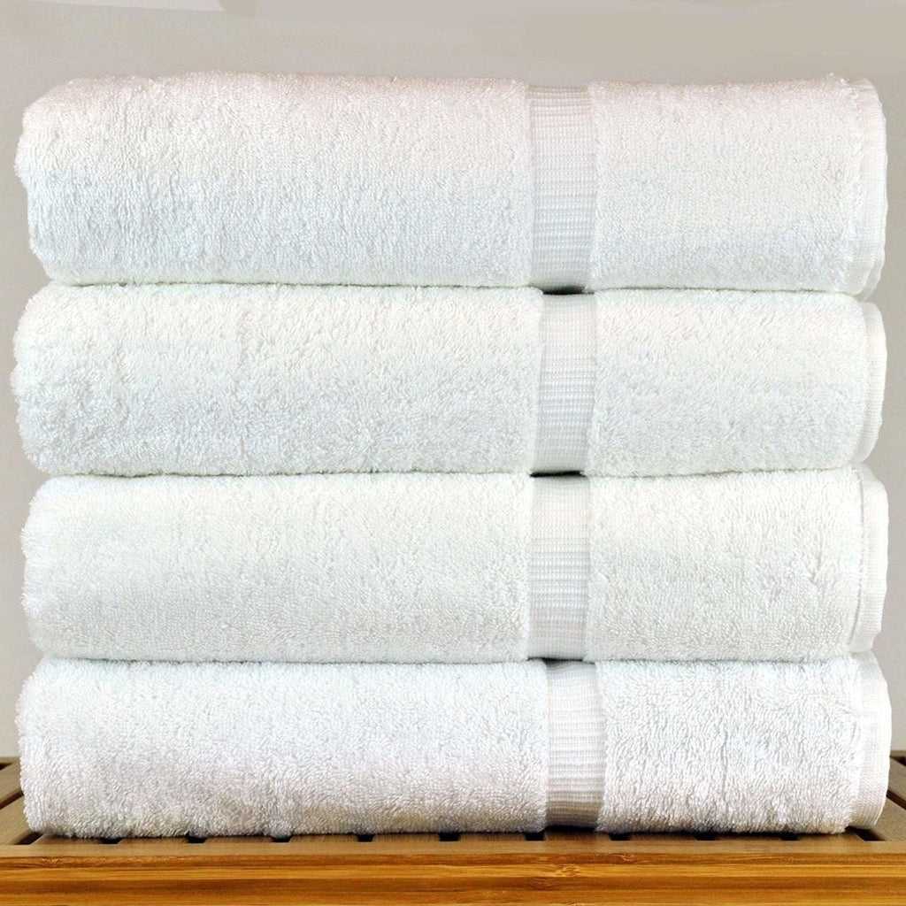 Premium White Bath Towel Set - Pack of 4 - (27 X 54 Inches)