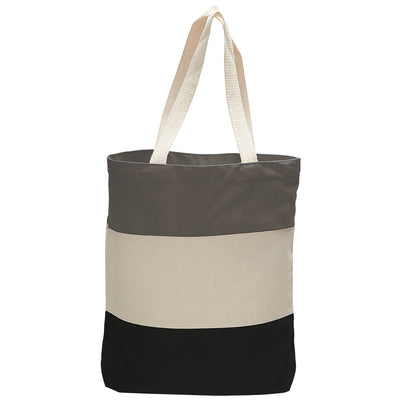 cotton-canvas-qtees-tri-color-tote-bag-Forest Green / Natural / Khaki-Oasispromos