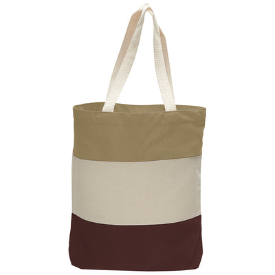 cotton-canvas-qtees-tri-color-tote-bag-Maroon / Natural / Light Pink-Oasispromos