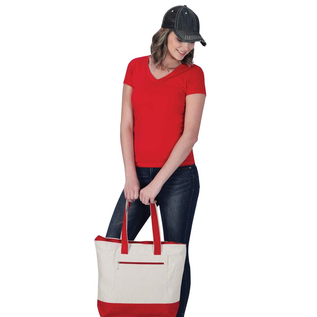 Model carrying Red Canvas Zipper Tote Bag with Front Pocket