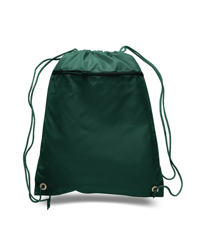 opq135200-polyester-cinch-bag-with-front-zipper-Forest Green-Oasispromos