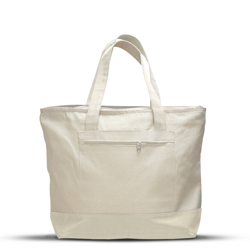 qtees-canvas-zipper-tote-front-pocket-Natural / Black-Oasispromos