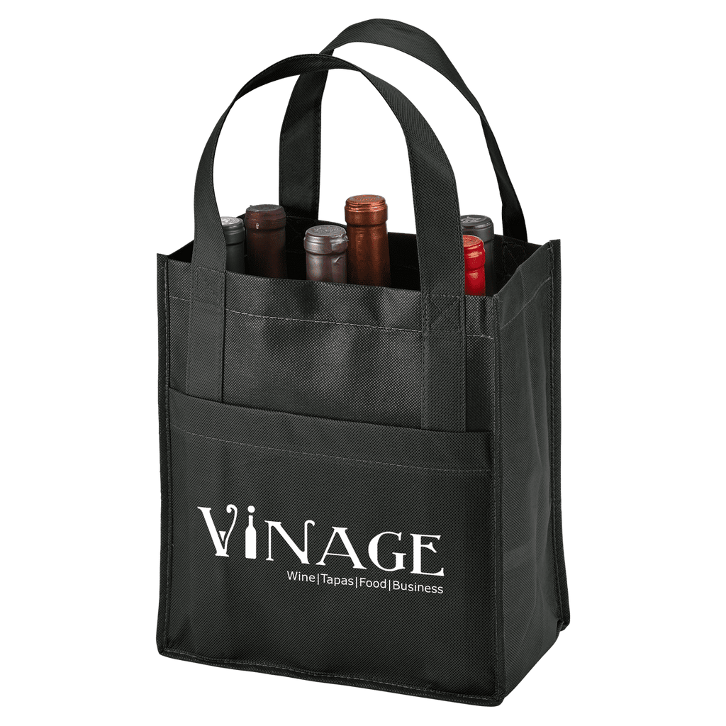 Toscana Six Bottle Non-Woven Wine Tote - Black:12046.preview.png