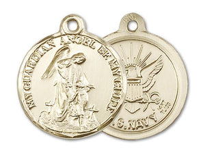 Windows of Heaven Catholic Gifts | windowsofheavenco.com | 14kt Gold Guardain Angel / Navy Medal