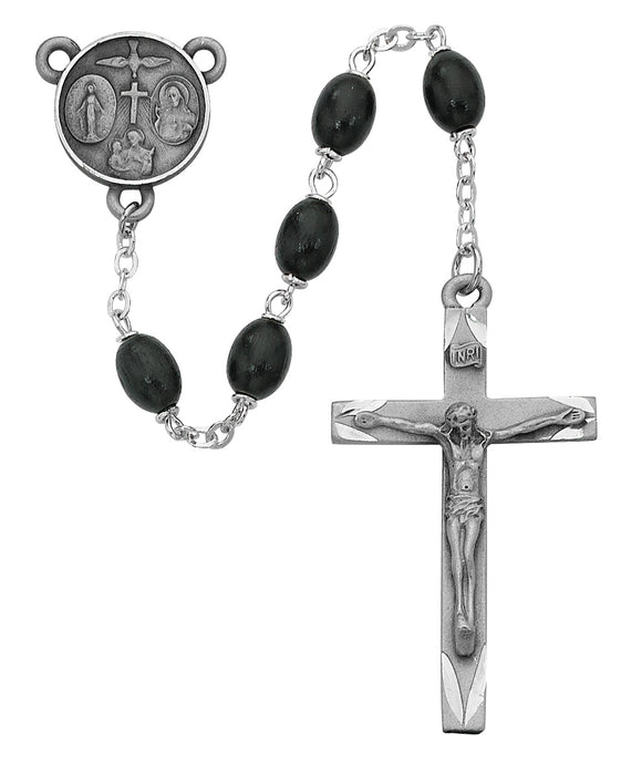 Black Oval Wood Rosary Boxed